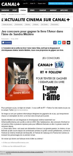 cinéma,canal +,canal plus,l'amor dans l'âme,roman,littérature,livre,concours,lire,lecture,in the mood for cinema,in the mood for cinéma,festival de cannes,festival de cannes 2014