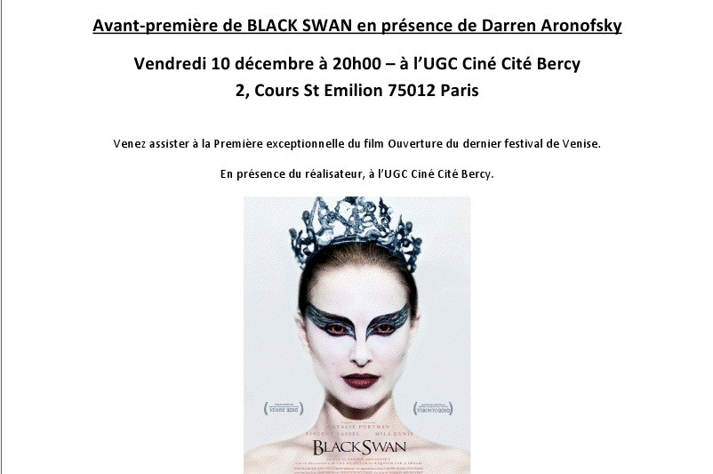 Avant premi re de black swan en pr sence de darren aronofsky in the mood for cinema - Cours saint emilion paris ...